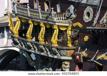 pirate ship in the ancient port of Genoa - stock photo