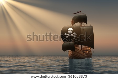 Pirate Ship In The Rays Of Sun. 3D Scene. - stock photo