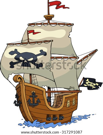 Pirate ship on white background raster version - stock photo