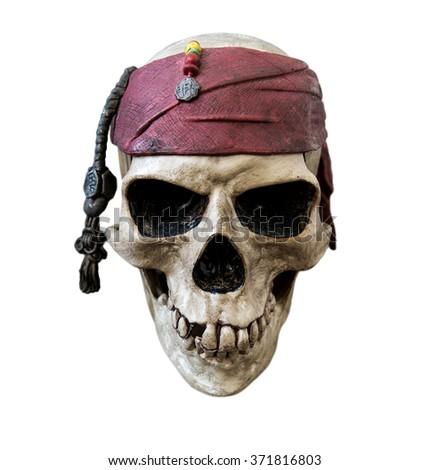 Pirate skull, isolated on white background - stock photo