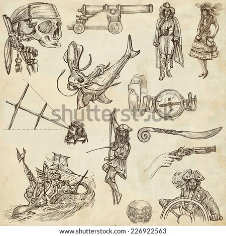 Pirates, Buccaneers and Sailors - Collection (no.5) of an hand drawn illustrations. Full sized hand drawn illustrations drawing on old paper. - stock photo