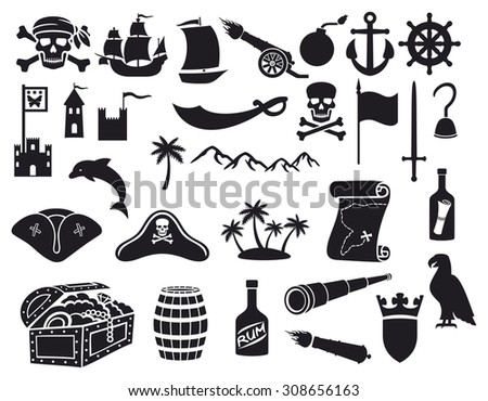 pirates icons set (pirate sabre, pirate skull with bandanna and bones, pirate hook, pirate triangle hat, old ship, spyglass, treasure chest, cannon, anchor, rudder, mountain, map, barrel, rum, island) - stock photo