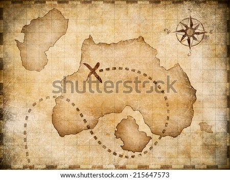 Pirates' map with marked treasure location - stock photo