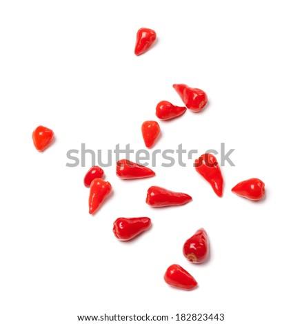 Piri-piri hot peppers on white background. Selective focus. - stock photo