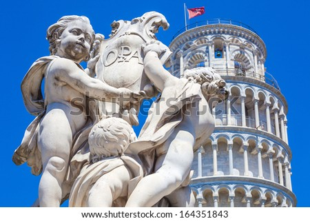 Pisa Duomo and The Fountain with Angels in Pisa, Italy - stock photo