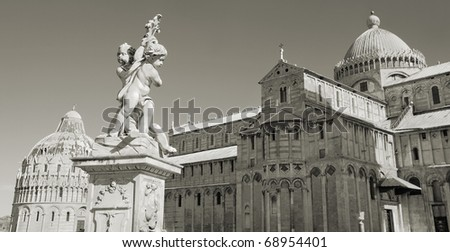 Pisa Duomo and The Fountain with Angels (La Fontana dei putti) in Pisa, Italia. - stock photo