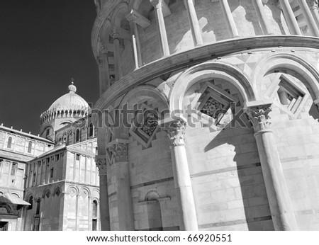 "Pisa Duomo and Torre Pendente (Campanile), ""The Leaning Tower"" in Pisa, Italia. - stock photo"