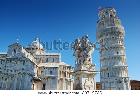 """Pisa Duomo, the Fountain with Angels  and Torre Pendente (Campanile), """"The Leaning Tower"""" in Pisa, Italia. - stock photo"""