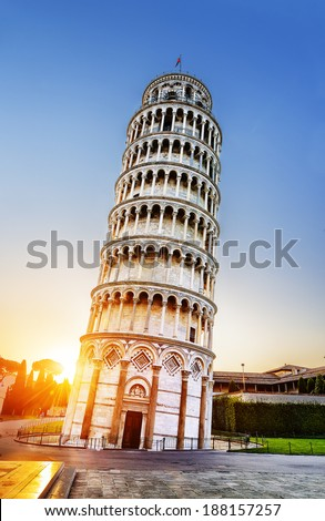 Pisa, place of miracles: the leaning tower and the cathedral baptistery, tuscany, Italy  - stock photo
