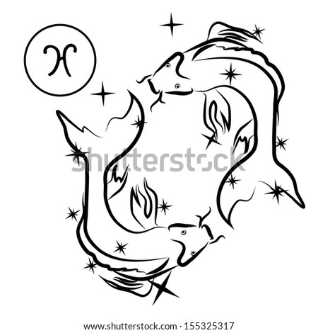 Pisces/Zodiac sign made of stars in black and white, isolated on white background  - stock photo