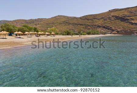 Pisses beach, Kea island, Cyclades, Greece - stock photo