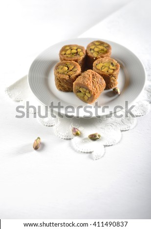 Pistachio baklava. A typical Middle-eastern sweet. - stock photo