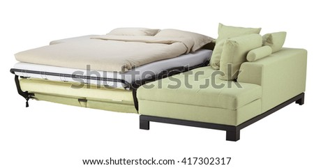 Pistachio corner couch bed isolated on white. Include clipping path - stock photo
