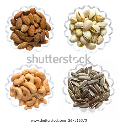 Pistachio nuts,Cashew nuts,Inshell almonds isolated on white background, Top view food - stock photo