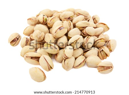Pistachio nuts in shells, isolated on a white background - stock photo