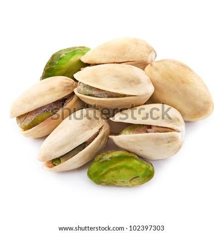 Pistachio nuts isolated on white background - stock photo