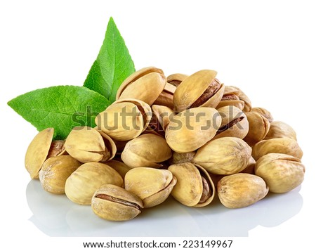 Pistachio nuts isolated on white background  - stock photo