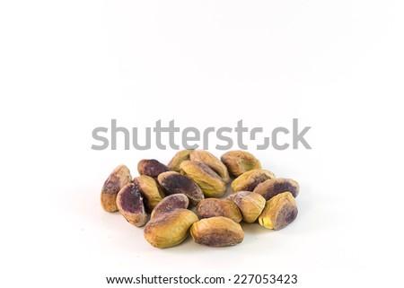 pistachio on white background - stock photo