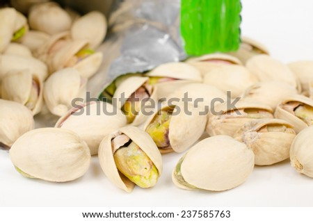 pistachio packet - stock photo