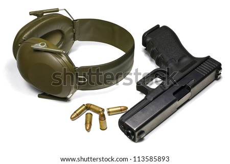 Pistol, ear protection and ammunition. Isolated on white. 3 separate clipping paths (without shadows): pistol, earmuffs, ammo and 1 complete for all objects. - stock photo