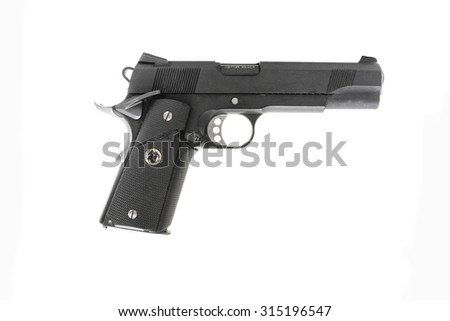 Pistol handgun on white background - stock photo