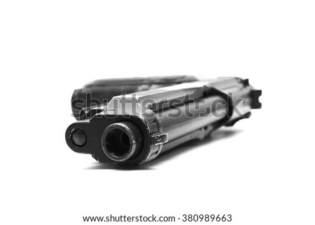 Pistol handgun weapon isolated on white background - stock photo