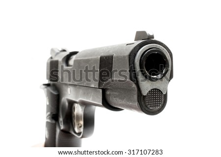 Pistol handgun with a white background. - stock photo