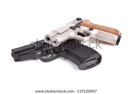 pistol police revolver firearm on white background - stock photo