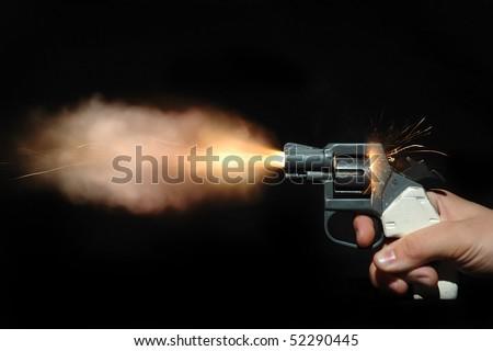 pistol shot - stock photo