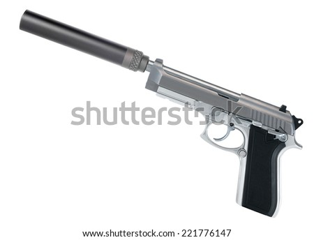 Pistol with a silencer - stock photo