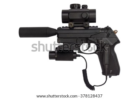 pistol with a silencer and laser sight isolated on white background - stock photo