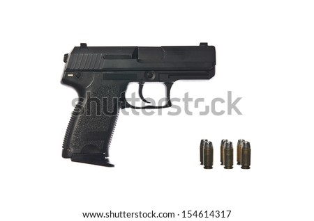 Pistol with Bullets on Isolated White Background - stock photo