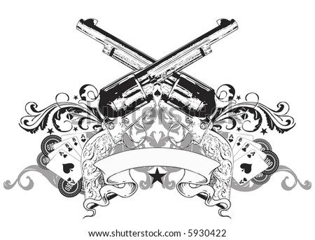 pistols and cards image - stock photo