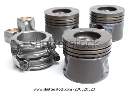 piston rods and a variety of spare parts and accessories Engine - stock photo