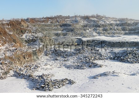 Pit on production of a construction stone in the open way,Novosibirsk region, Russia - stock photo