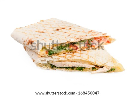 Pita sandwich with cheese and tomatoes isolated on white background - stock photo