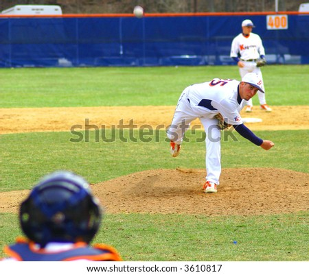 Pitcher Curve Ball approaching home - stock photo