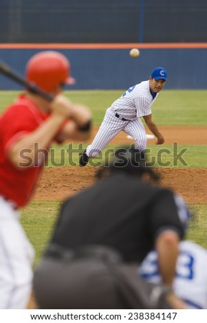 Pitcher Pitching to Batter - stock photo