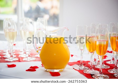 pitcher with fruit juice - stock photo