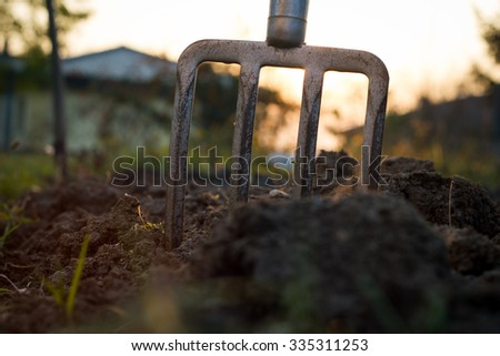 pitchfork stucks in the clay during sunset, gardening tools (flare effect, color toned image) - stock photo