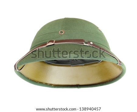Pith helmet on a white background. - stock photo