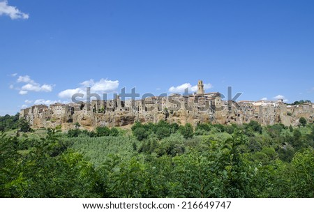 Pitigliano - small medieval town on rock.Italy - stock photo