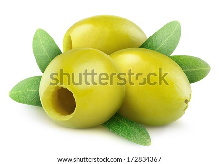 Pitted green olives isolated on white - stock photo