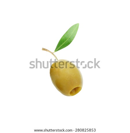 Pitted olive with leaf isolated on a white background        - stock photo