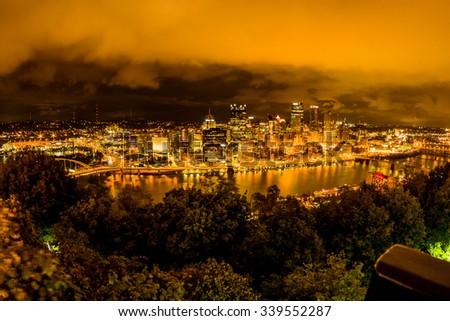 Pittsburgh at night dramatic sky  - stock photo