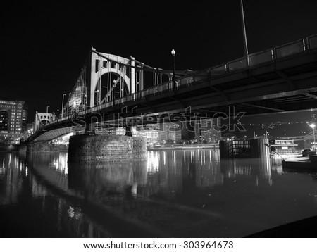 Pittsburgh Bridge spanning the Ohio River in Pennsylvania.       - stock photo