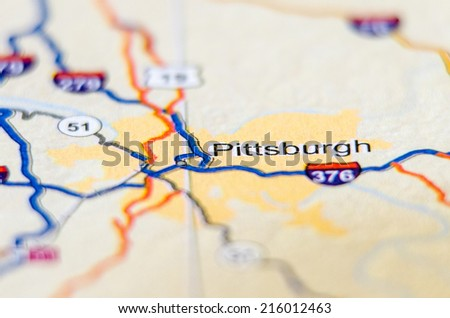pittsburgh city pin on the map - stock photo