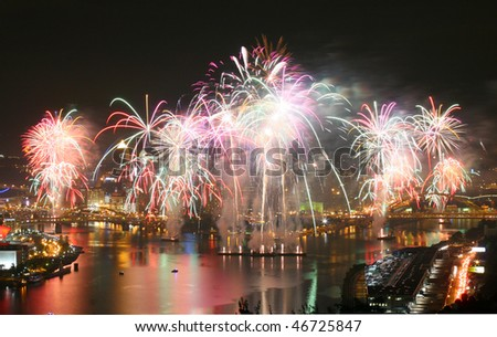 Pittsburgh fireworks - stock photo