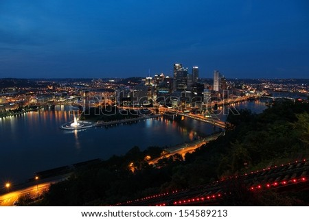 Pittsburgh, Pennsylvania - city evening view in the United States. Skyline with Allegheny and Monongahela River. - stock photo