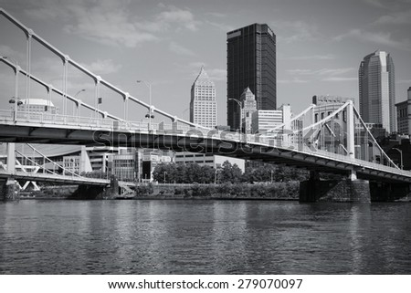 Pittsburgh, Pennsylvania - city in the United States. Skyline with Allegheny River. Black and white tone - retro monochrome color style. - stock photo